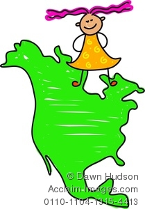 Clipart Picture of a Girl Standing On A Map Of North America