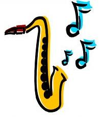 clipart picture of a saxaphone with notes