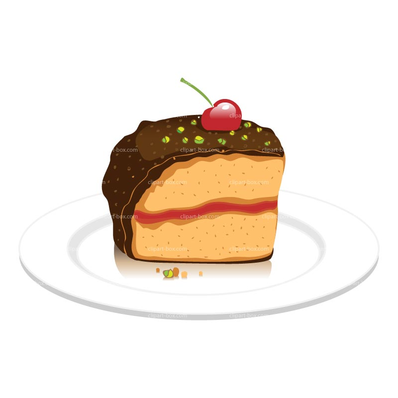 Clipart Piece Of Cherry Cake Royalty Free Vector Design