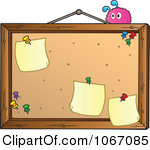 Clipart Pink Creature On A Bulletin Board Royalty Free Vector Illustration