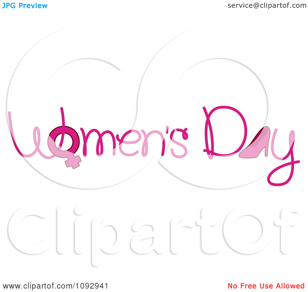 Clipart Pink Womens Day Text With A Gender Symbol And High Heel - Royalty Free Vector Illustration by BNP Design Studio