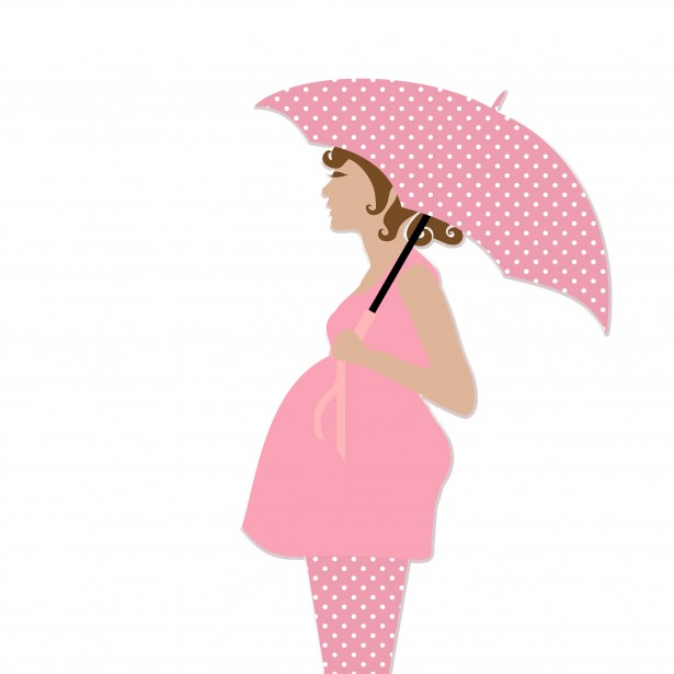 Clipart Pregnant Woman . Pregnant Woman With Umbrella .
