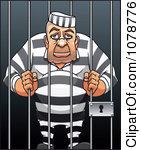 Clipart Prisoner Resting His Head Between Jail Cell Bars Royalty Free Vector Illustration