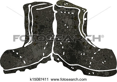 b691b1fa399cc8 Clipart - retro cartoon old army boots. Fotosearch - Search Clip Art