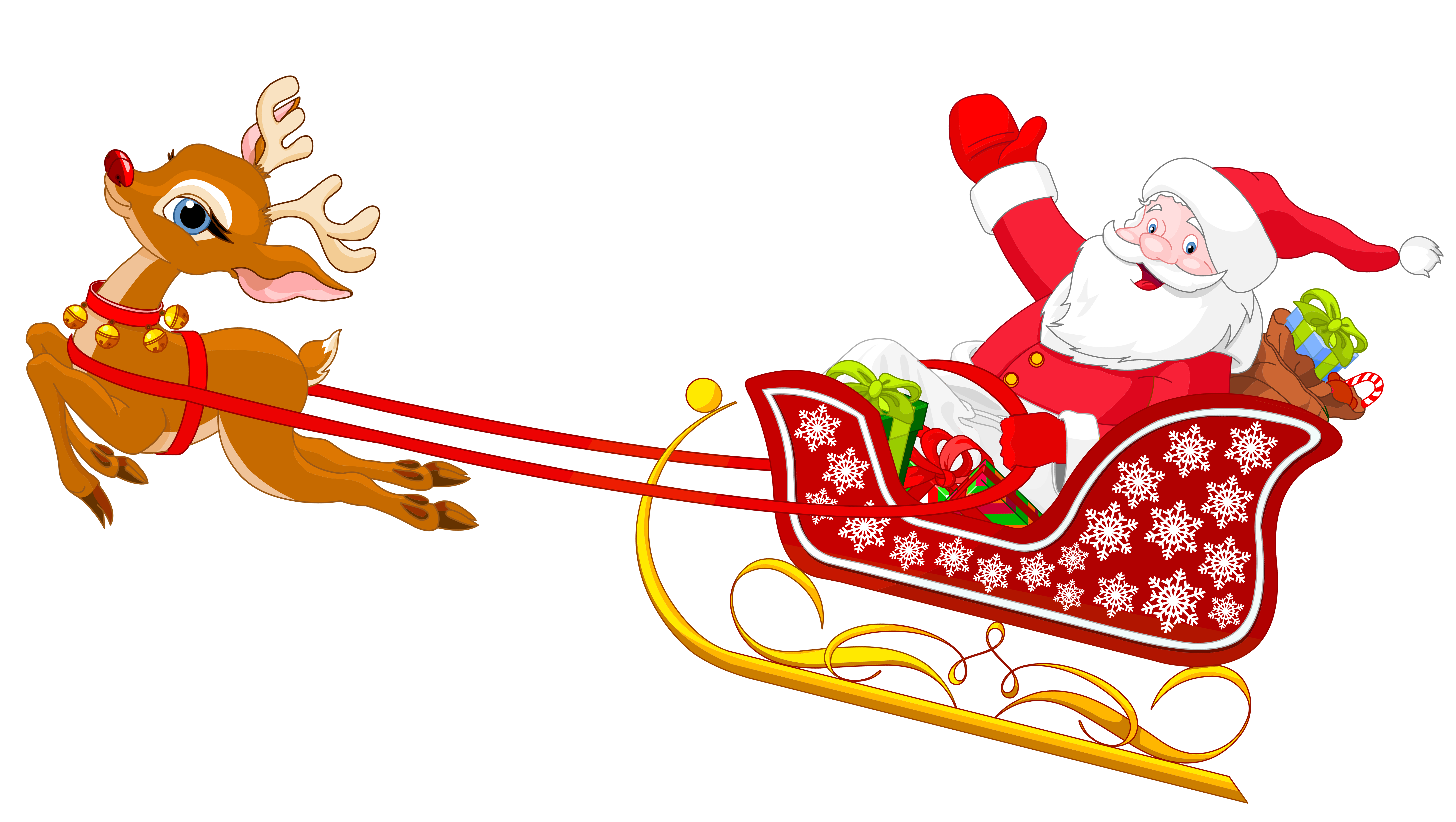 Clipart Santa And Reindeer .