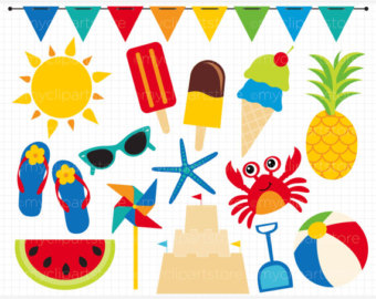 Clipart - Summer Time Fun / Beach - Digital Clip Art (Instant Download)