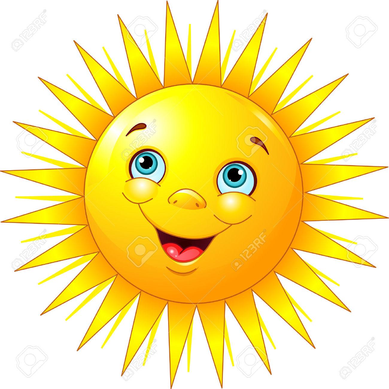 clipart sunshine: Illustration of smiling sun character Illustration