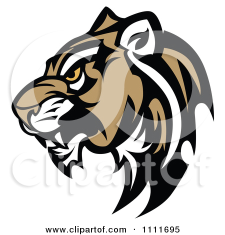 Clipart Tough Cougar Mascot Head In Prof-Clipart Tough Cougar Mascot Head In Profile - Royalty Free Vector Illustration by Chromaco-3
