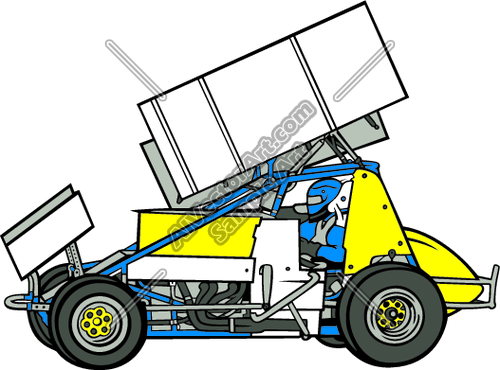 Clipart/Vector Art of: Sprint Car with Driver