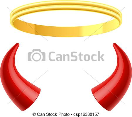 Clipart Vector Of Angels Halo And Devils Horns Illustration