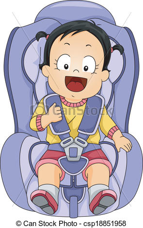 Clipart Vector Of Baby Girl Car Seat Illustration Of A Baby Girl