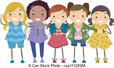 Clipart Vector Of Girl Group Illustration Of A Group Of Girls