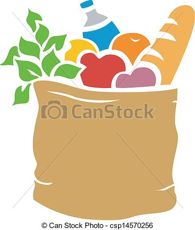 Clipart Vector Of Groceries Stencil Illustration Of Grocery Bag Full