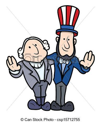 Clipart Vector Of Presidents Day Cartoon Characters Washington And
