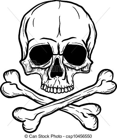 Clipart Vector Of Skull And Crossbones Isolated Over White Background
