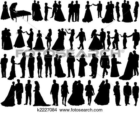 Clipart - wedding silhouettes. Fotosearch - Search Clip Art, Illustration Murals, Drawings and