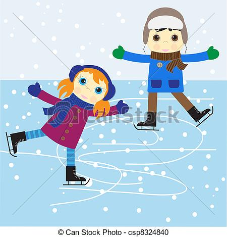 Clipartby Jesser1/109; Ice Skating Boy A-Clipartby Jesser1/109; Ice skating boy and girl. vector illustration.-2