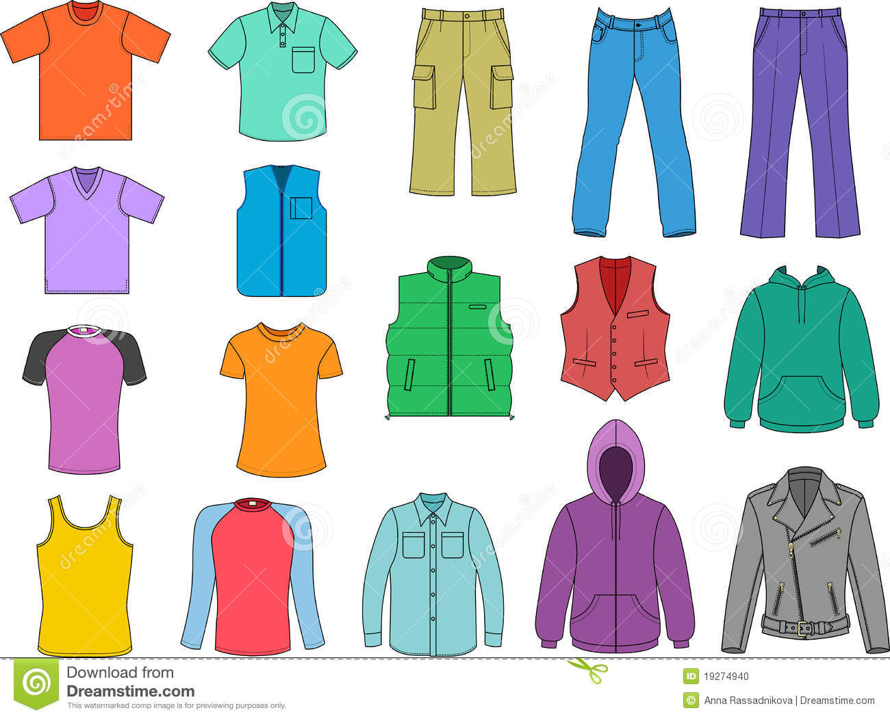 Clothing clip art women. Man clothes colored collection
