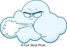 ... Cloud With Face Blowing Wind Cartoon Mascot Character.
