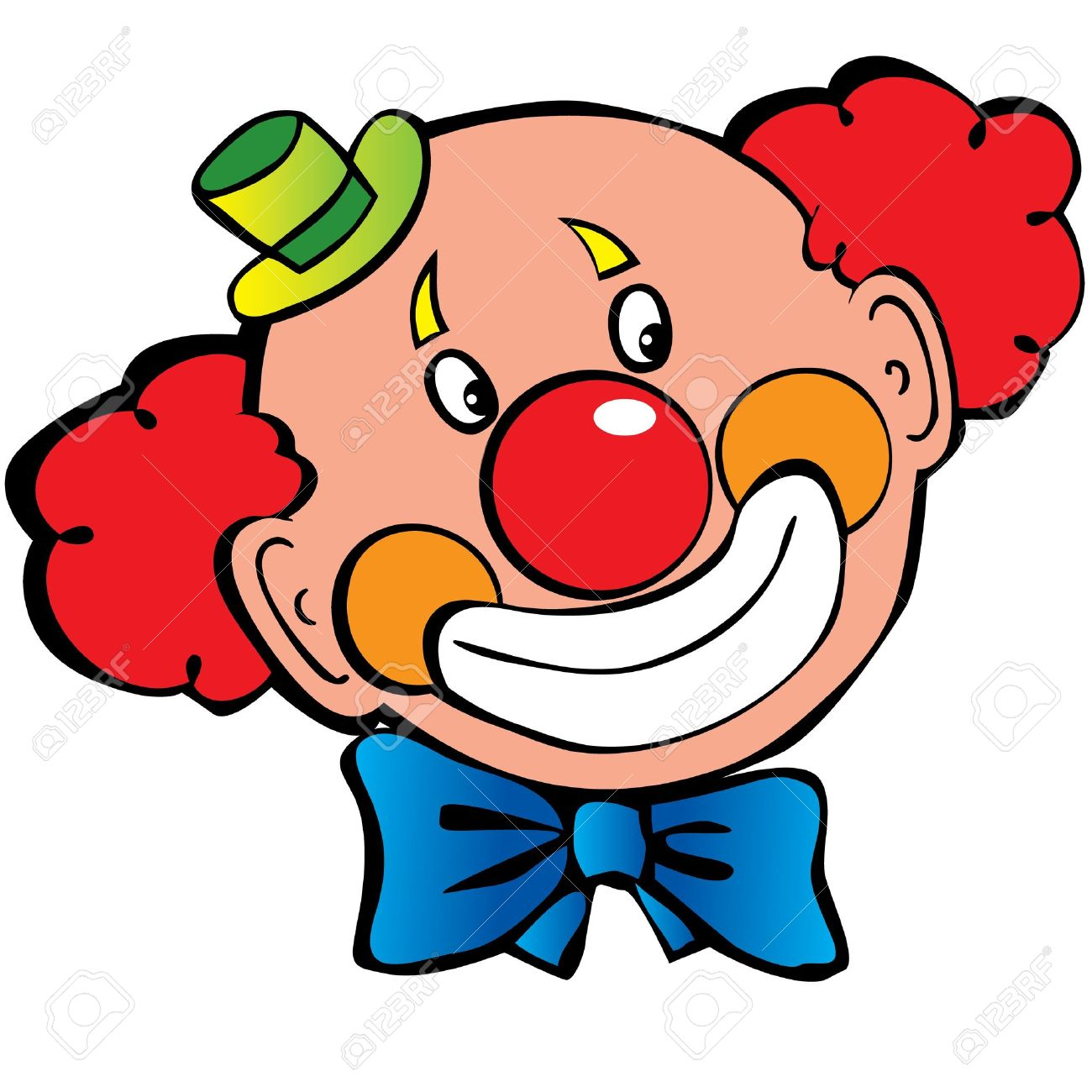 clown face: Happy clown art-illustration on a white background