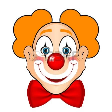clown face: illustration of smiling clown with red bow Illustration