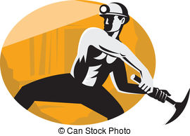 ... Coal Miner With Pick Ax Striking Retro - Illustration of a.