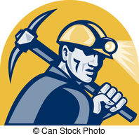 ... Coal Miner With Pick Axe Retro Woodcut - illustration of a.