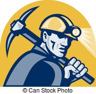 ... Coal Miner With Pick Axe Retro Woodc-... Coal Miner With Pick Axe Retro Woodcut - illustration of a.-11