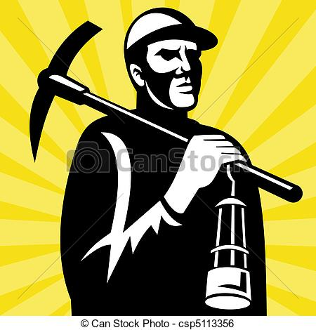 ... Coal miner with pickax and lamp - illustration of a Coal.