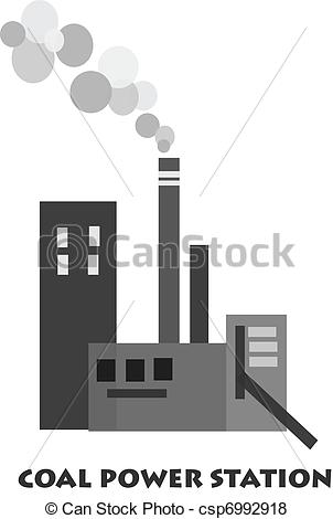 ... Coal power station - Vector - Polution from coal power.