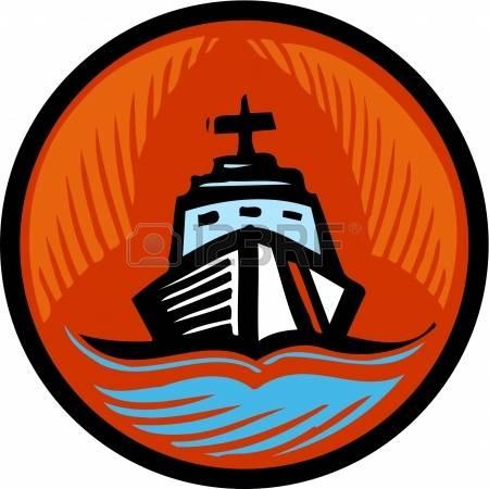 coast guard: Illustration of a coast gua-coast guard: Illustration of a coast guard boat in an orange circle Stock Photo-16