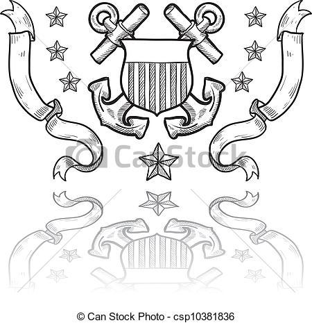 ... Coast Guard military insignia - Dood-... Coast Guard military insignia - Doodle style military rank.-19