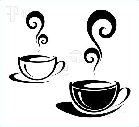 Coffee Cup Black White Clipart .