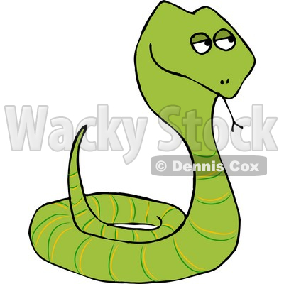 Coiled Up Viper Snake Sticking Tongue Out Clipart Illustration by Dennis Cox