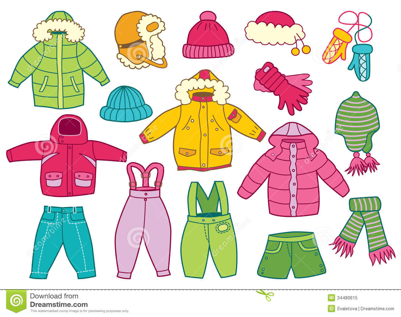 Collection Of Winter Children - Clip Art Clothing
