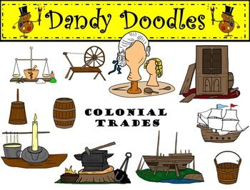 Colonial Trades Clip Art: 11 color and 11 BW PN images. $