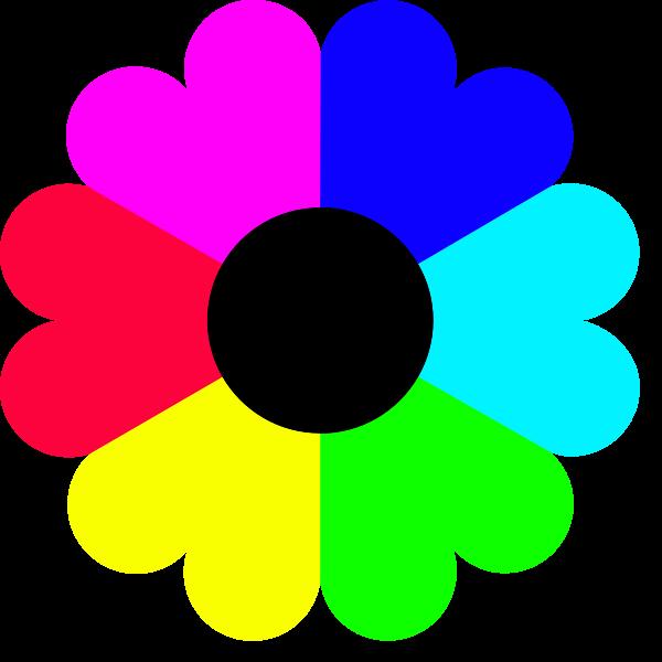 Color Clipart Flower 7 Colors Clip Art Png