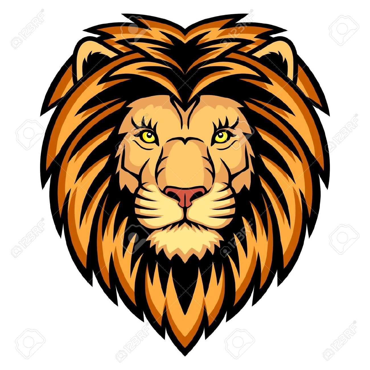 Color Lion Head Clipart