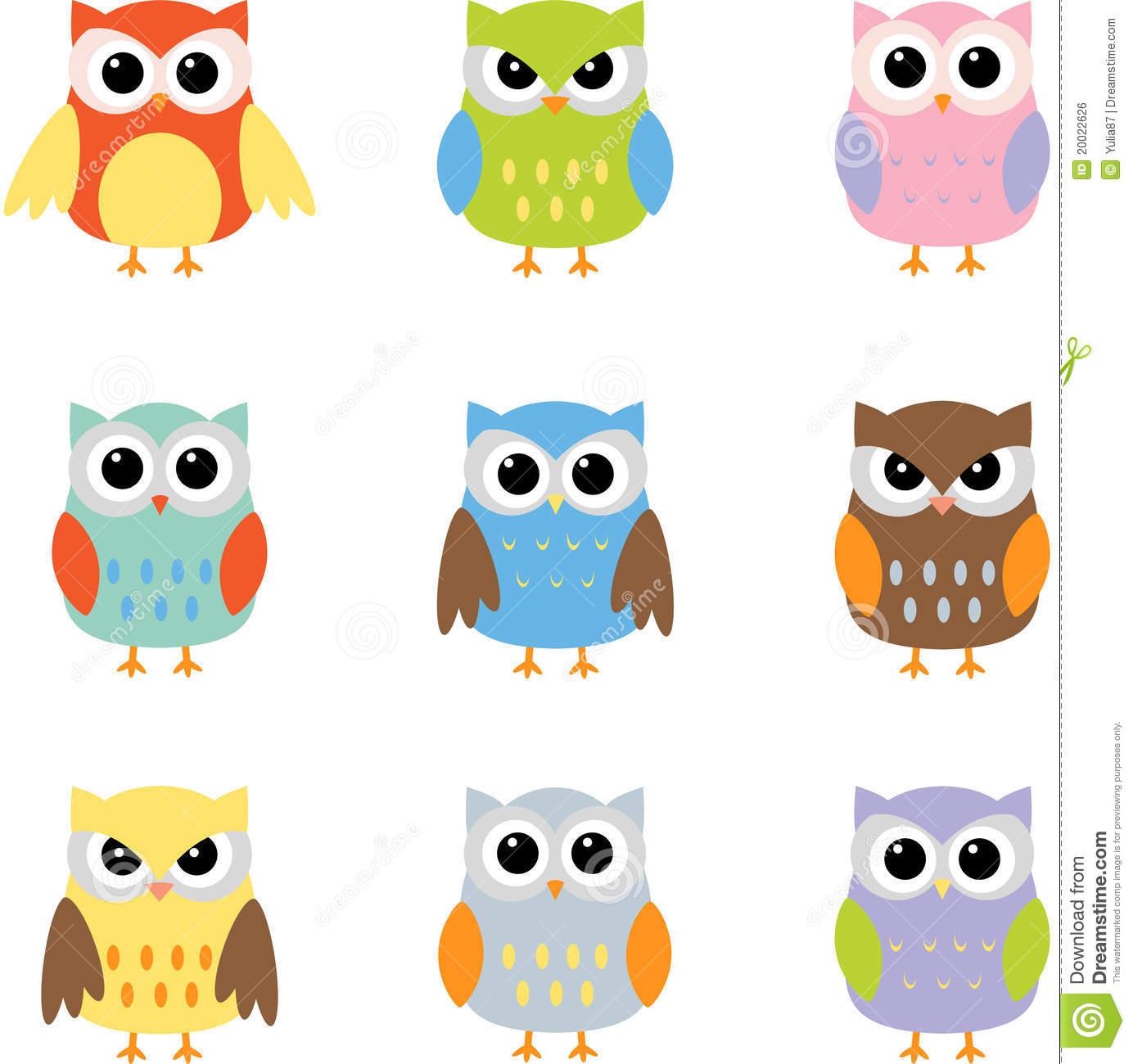 Color Owls Clip Art Royalty .