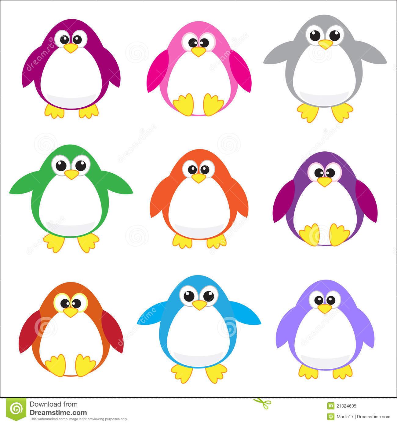 Color Penguins Clip Art-Color penguins clip art-3