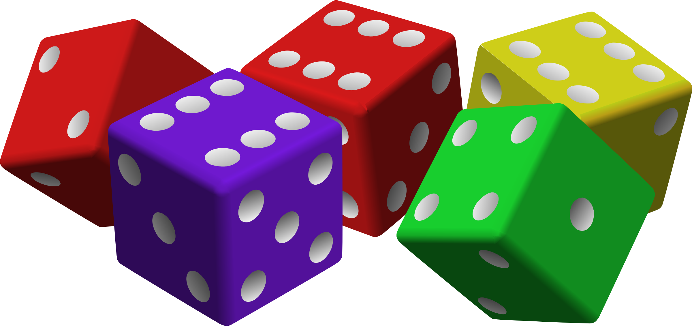 Colored Dice Clip Art