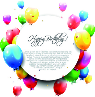 colored happy birthday balloons vector