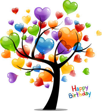 colored heart tree happy birthday card vector