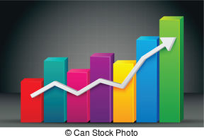 Colorful Bar Graph - illustration of colorful bar graph with.