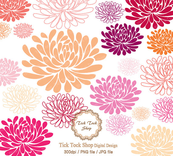 Colorful Blooms Chrysanthemum Set 01 6in-Colorful Blooms Chrysanthemum Set 01 6inch Clip Art-1
