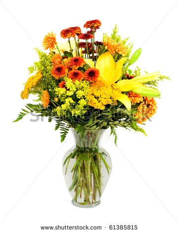 Colorful Flower Arrangement With Fall Colors Isolated On White Stock