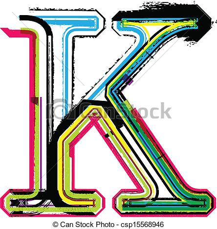 ... Colorful Grunge LETTER K