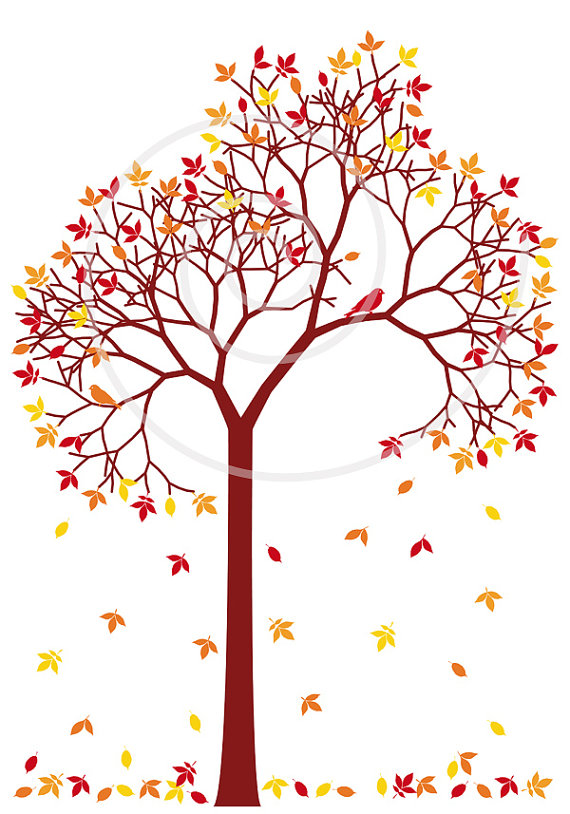 Colorful Leaves And Birds Digital Clip A-Colorful Leaves And Birds Digital Clip Art Clipart Clip Art Fall-4