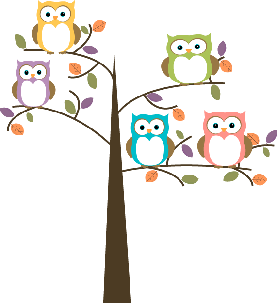Colorful Owls in Pretty Tree - Owl Images Clipart