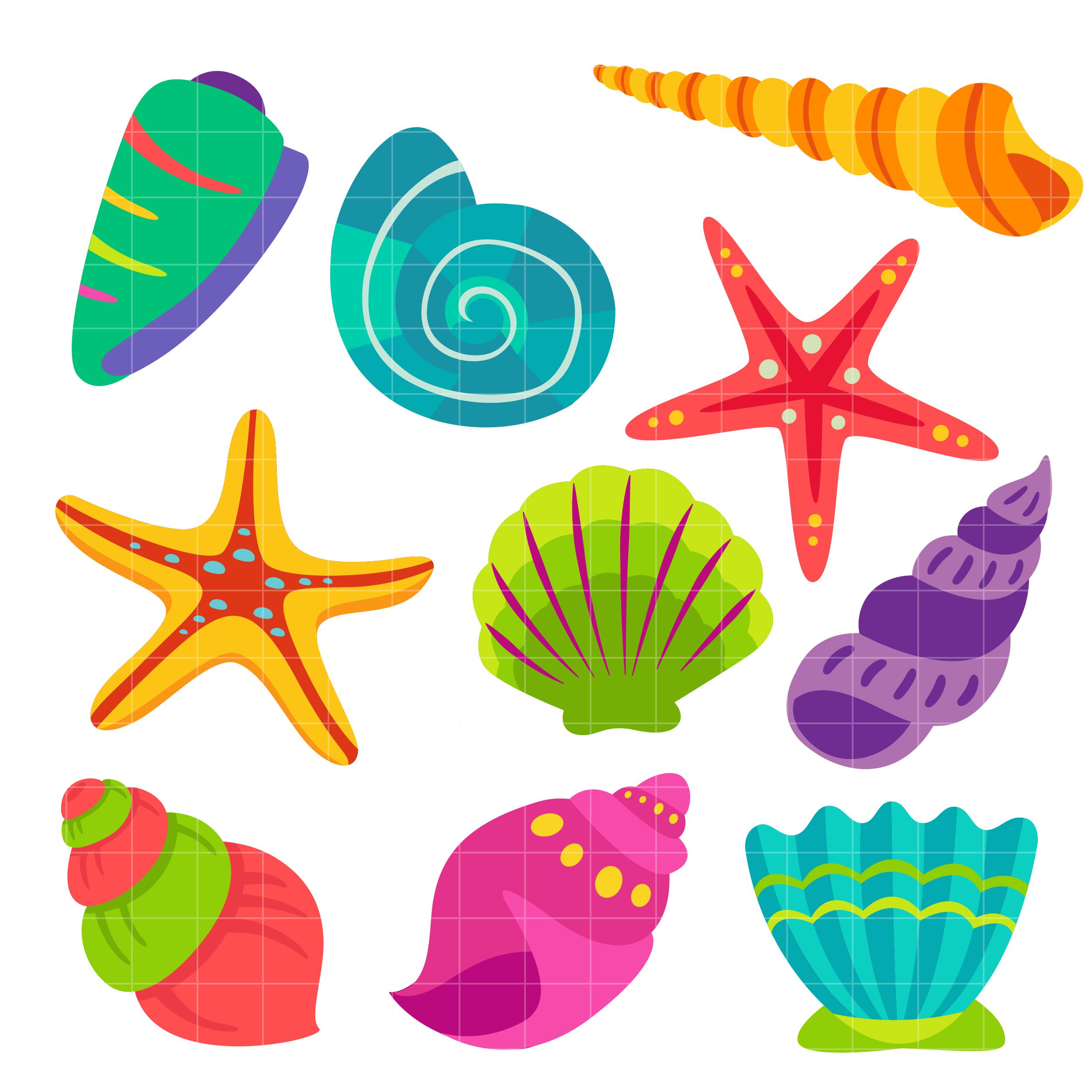 Colorful Sea Shells Clipart